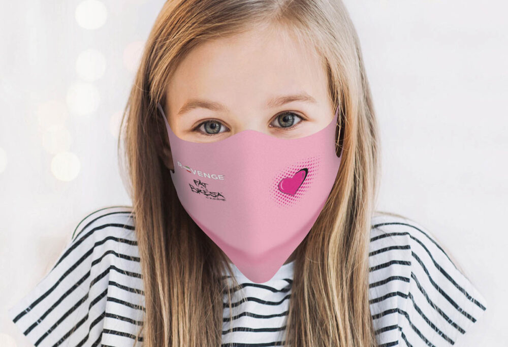 Mascherina Mod.Kids Rosa cuore