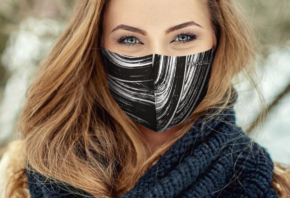Mascherina Mod.Brush nero/bianco Donna