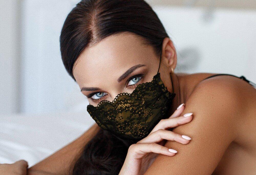 Mascherina Luxury Mod.Pizzo Giallo Donna con filtro antibatterico