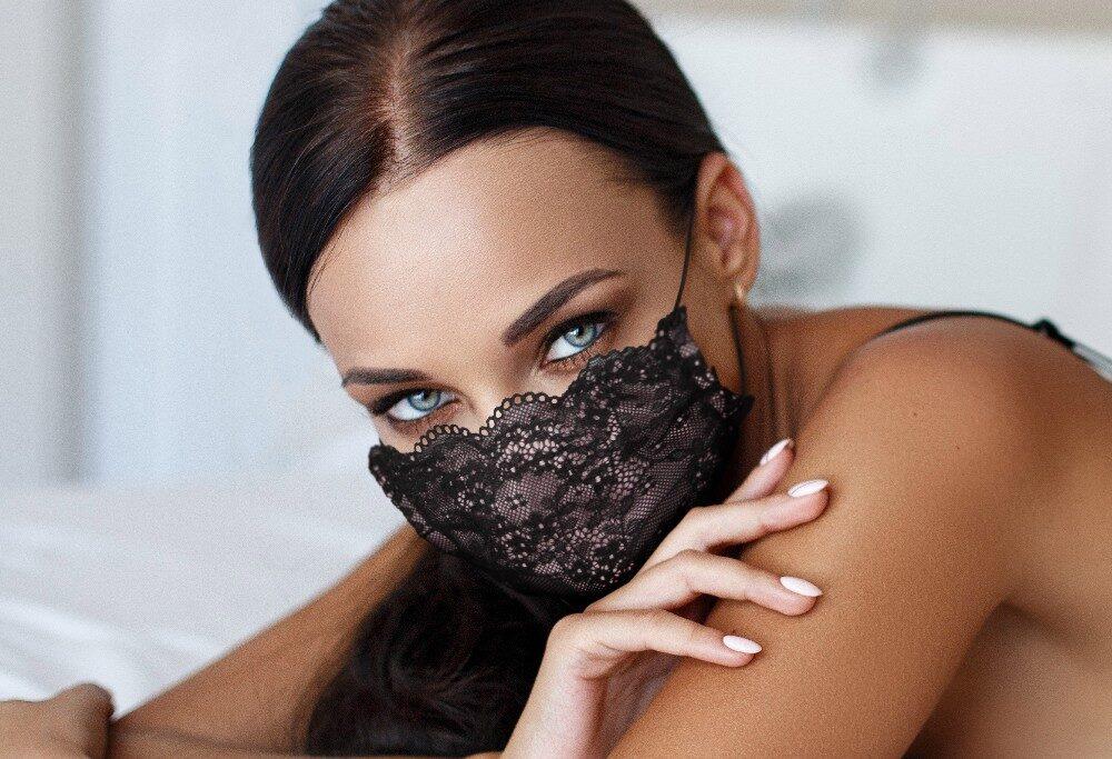 Mascherina Luxury Mod.Pizzo Rosa Donna con filtro antibatterico